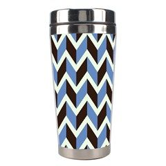 Chevron Blue Brown Stainless Steel Travel Tumblers
