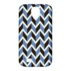Chevron Blue Brown Samsung Galaxy S4 Classic Hardshell Case (pc+silicone)
