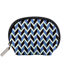 Chevron Blue Brown Accessory Pouches (small)