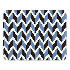 Chevron Blue Brown Double Sided Flano Blanket (large)