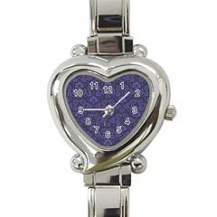 Damask Purple Heart Italian Charm Watch
