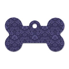 Damask Purple Dog Tag Bone (two Sides)