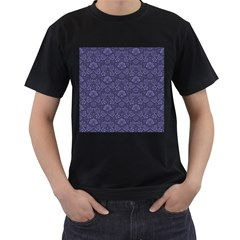 Damask Purple Men s T Shirt (black)
