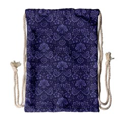 Damask Purple Drawstring Bag (large)