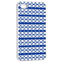 Circles Lines Blue White Apple Iphone 4/4s Seamless Case (white)