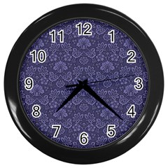Damask Purple Wall Clocks (black)