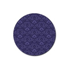 Damask Purple Rubber Coaster (round)