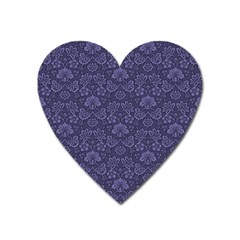 Damask Purple Heart Magnet