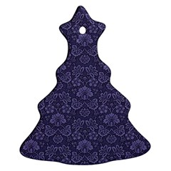 Damask Purple Christmas Tree Ornament (two Sides)
