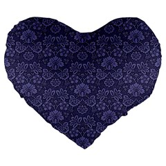 Damask Purple Large 19  Premium Heart Shape Cushions