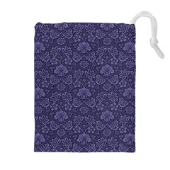 Damask Purple Drawstring Pouches (extra Large)