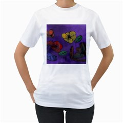Flowers Women s T Shirt (white) (two Sided)