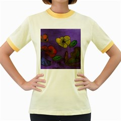 Flowers Women s Fitted Ringer T Shirts