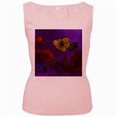 Flowers Women s Pink Tank Top