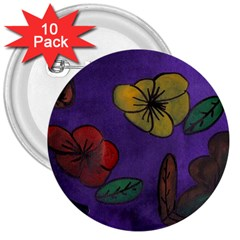 Flowers 3  Buttons (10 Pack)