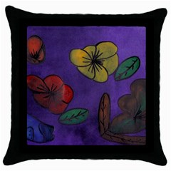 Flowers Throw Pillow Case (black)