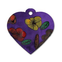 Flowers Dog Tag Heart (two Sides)