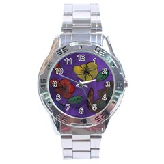 Flowers Stainless Steel Analogue Watch