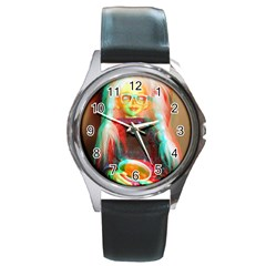 Eating Lunch 3d Round Metal Watch
