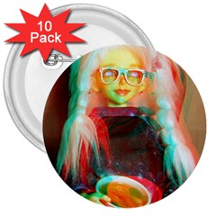 Eating Lunch 3d 3  Buttons (10 Pack)