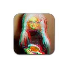 Eating Lunch 3d Rubber Square Coaster (4 Pack)