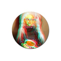 Eating Lunch 3d Magnet 3  (round)