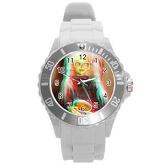 Eating Lunch 3d Round Plastic Sport Watch (l)