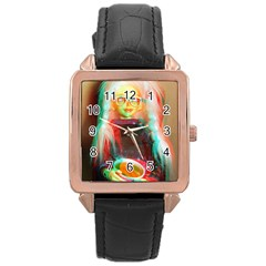 Eating Lunch 3d Rose Gold Leather Watch