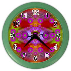 Shimmering Pond With Lotus Bloom Color Wall Clocks