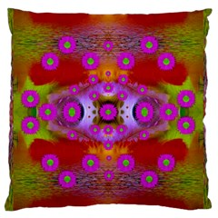 Shimmering Pond With Lotus Bloom Large Flano Cushion Case (two Sides)