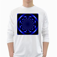 Indigo Lotus  White Long Sleeve T Shirts