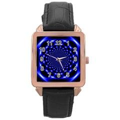 Indigo Lotus  Rose Gold Leather Watch