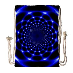 Indigo Lotus  Drawstring Bag (large)
