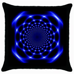 Indigo Lotus  Throw Pillow Case (black)
