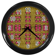 Bloom In Gold Shine And You Shall Be Strong Wall Clocks (black)