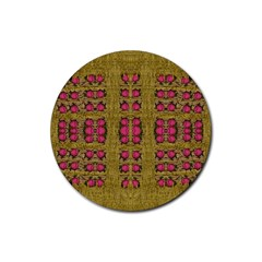 Bloom In Gold Shine And You Shall Be Strong Rubber Round Coaster (4 Pack)