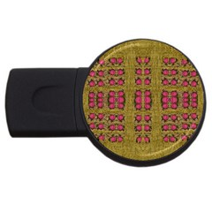 Bloom In Gold Shine And You Shall Be Strong Usb Flash Drive Round (4 Gb)