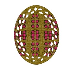 Bloom In Gold Shine And You Shall Be Strong Oval Filigree Ornament (two Sides)