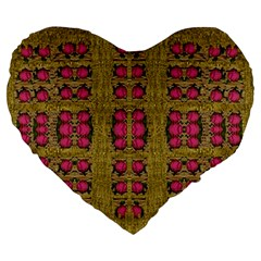 Bloom In Gold Shine And You Shall Be Strong Large 19  Premium Heart Shape Cushions