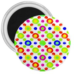Multicolored Circles Motif Pattern 3  Magnets