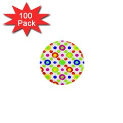 Multicolored Circles Motif Pattern 1  Mini Buttons (100 Pack)