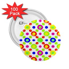 Multicolored Circles Motif Pattern 2 25  Buttons (100 Pack)