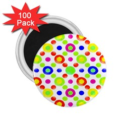 Multicolored Circles Motif Pattern 2 25  Magnets (100 Pack)