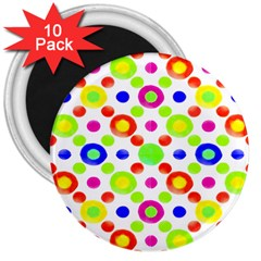 Multicolored Circles Motif Pattern 3  Magnets (10 Pack)