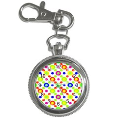 Multicolored Circles Motif Pattern Key Chain Watches