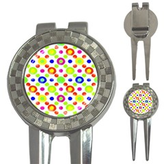 Multicolored Circles Motif Pattern 3 In 1 Golf Divots