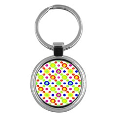 Multicolored Circles Motif Pattern Key Chains (round)