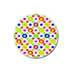 Multicolored Circles Motif Pattern Rubber Round Coaster (4 Pack)