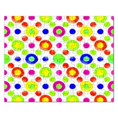 Multicolored Circles Motif Pattern Rectangular Jigsaw Puzzl