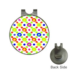 Multicolored Circles Motif Pattern Hat Clips With Golf Markers